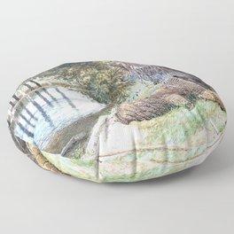 Myles Birket Foster - The Eel Traps - Digital Remastered Edition Floor Pillow