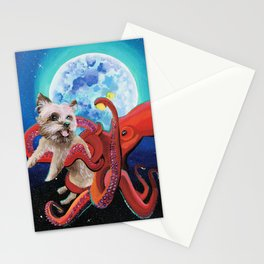 The Bonding Bone - Yorkie and Octopus Stationery Cards