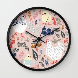 Rosy Hens Wall Clock