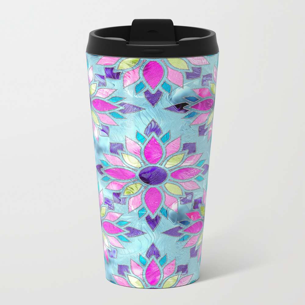 Blue And Purple Stained Glass Flower Pattern Metal Travel Mug by K9printart MTM7776897