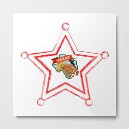 Texas In A Badge Star Metal Print