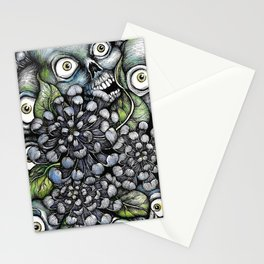 Skulls and Chrysanthemums Stationery Cards