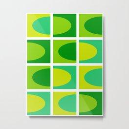 Vivid green shades. Fresh geometric pattern.  Metal Print