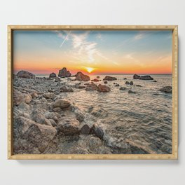 Colors of the sky natural show rocky beach summer 2019 Serving Tray