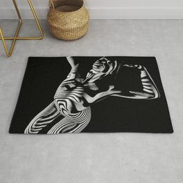 0465s-MM Black White Striped Art Nude Kneeling Woman Arched Back Bliss Rug