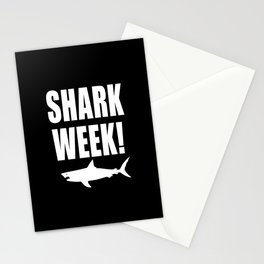 Shark Week, white text on black Stationery Cards
