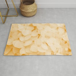 hydrangea ochre tone botanical art washed out effect aesthetic photography Rug