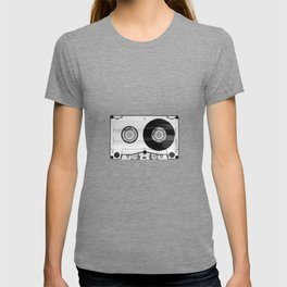 Vintage 80's Cassette - Black and White Retro Eighties Technology Art Print Wall Decor from 1980's T-Shirt