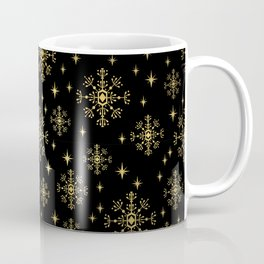 Gold and black snowflakes winter minimal modern painted abstract painting minimalist decor nursery Coffee Mug
