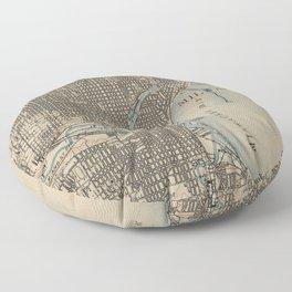 Vintage Map of Milwaukee Wisconsin (1899) Floor Pillow