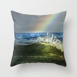 Shorebreak Rainbow & Flare Throw Pillow