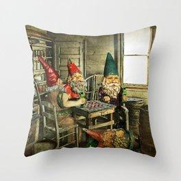 Garden Gnomes Playing Checkers Throw Pillow