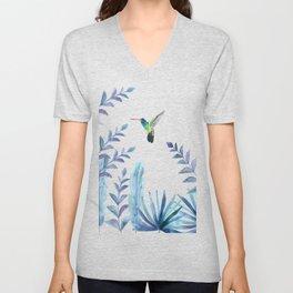 Hummingbird with tropical foliage Unisex V-Neck