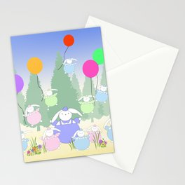 Fat Bunnies and Balloons Stationery Cards
