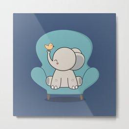 Kawaii Cute Elephant On A Couch Metal Print