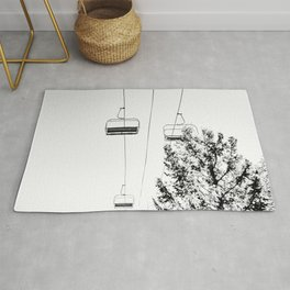 Ski Lift // Black and White Daylight Chairlift Mountain Photograph Rug