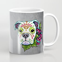 Boxer in White- Day of the Dead Sugar Skull Dog Coffee Mug