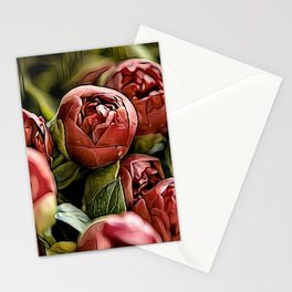 The Red Buds Of Peonies Stationery Cards