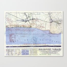Vintage Map of The Omaha Beach Landings (1944) Canvas Print