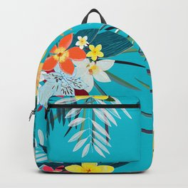 Frangipani, Lily Palm Leaves Tropical Vibrant Colored Trendy Summer Pattern Backpack