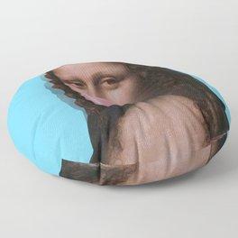 Mona Lisa (Leonardo da Vinci) with Bubblegum Floor Pillow