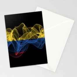 Colombia Smoke Flag on Black Background, Colombia flag Stationery Cards