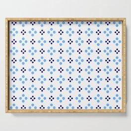 new polka dot 107 dark and light blue Serving Tray
