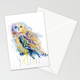 Short Eared Owl Watercolor painting Stationery Cards