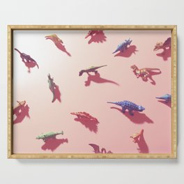Dinosaurs in pink Serving Tray