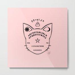 Meowija pink background Metal Print