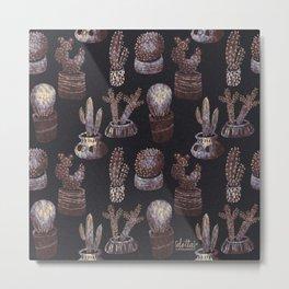 Cactus pot pattern Dark monochrome palette  Metal Print