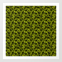 Stylish design with rotating circles and yellow rectangles from dark stripes. Art Print