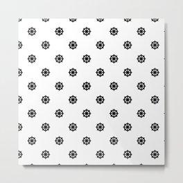Dharma Wheel Pattern (Black and white) Metal Print