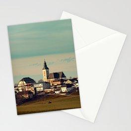 Small village skyline with mint sky   landscape photography Stationery Cards