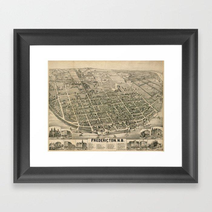 Vintage Pictorial Map of Fredericton New Brunswick (1882) Gerahmter Kunstdruck