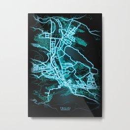 Tbilisi, Georgia, Blue, White, Neon, Glow, City, Map Metal Print