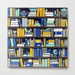 Book Case Pattern - Blue Yellow Metal Print