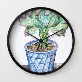 Euphorbia Lactea Cactus Wall Clock