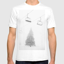 Backcountry Skier // Fresh Powder Snow Mountain Ski Landscape Black and White Photography Vibes Art T-shirt