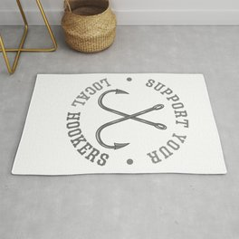 Funny Fishing Fisherman Dad Support Your Local Hookers Rug