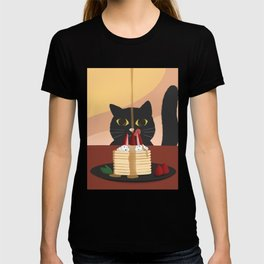 Carb Fiend aka Hungry Cat Eating Pancakes T-shirt