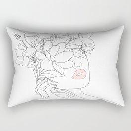 Minimal Line Art Woman with Magnolia Rectangular Pillow