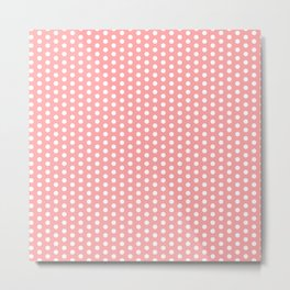 White polka dots in pink background Metal Print