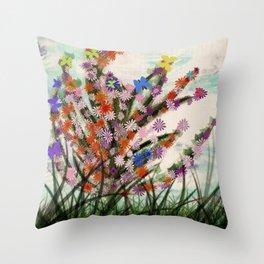 Flowers with butterflies Throw Pillow