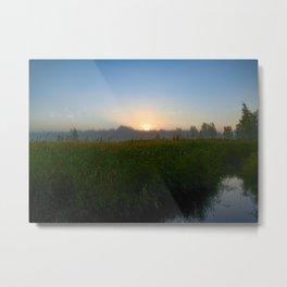 Sunrise Behind Forest Over Grassy Swamp Metal Print