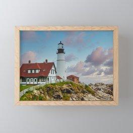 Portland Head Lighthouse at Dusk Framed Mini Art Print