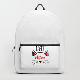 Cat Mom Heart Nose Ears and Whiskers Backpack
