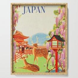 Japan vintage travel art poster Serving Tray