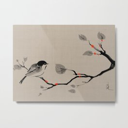 Bird on tree Asian brush painting Metal Print