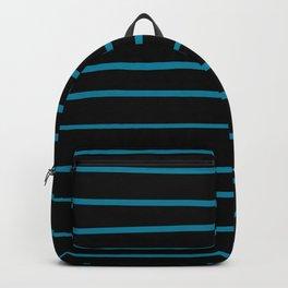 Pantone Barrier Reef 17-4530 Hand Drawn Horizontal Lines on Black Backpack